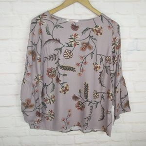 Renee C. women's size S Fall Floral Bell Sleeve Ma